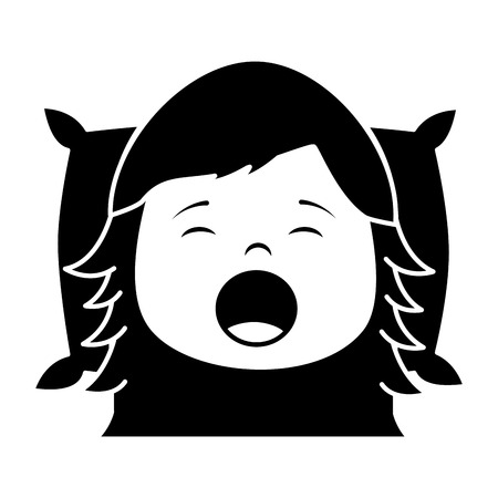 Child girl sleeping on pillow icon image vector illustration design black and white