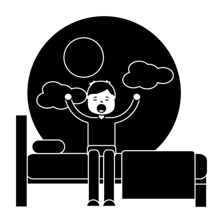 child boy sleeping in their room icon image vector illustration design  black and white