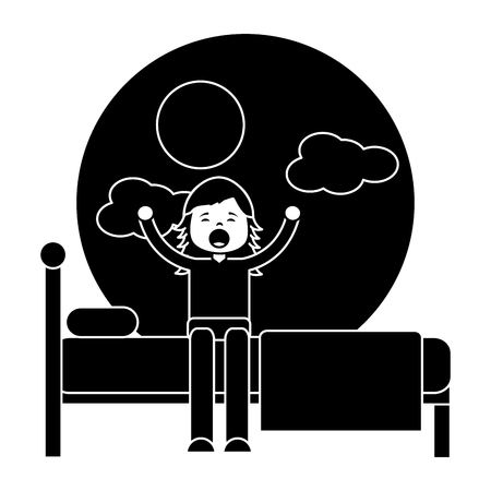 child girl sleeping in their room icon image vector illustration design  black and white Illustration