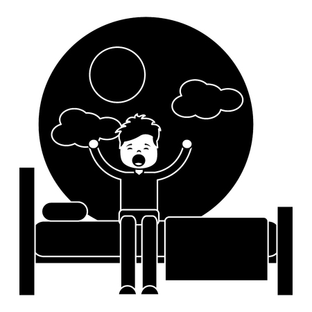 Hand drawn child boy sleeping in their room icon