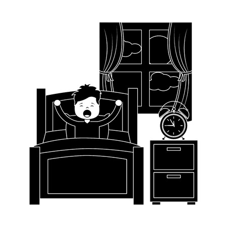 Hand drawn child boy sleeping in their room icon Stock Vector - 96168741