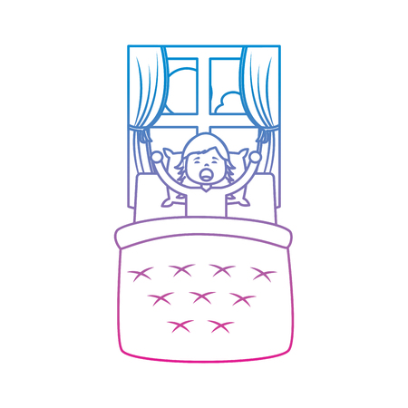 Hand drawn little girl waking up in bed and window landscape vector illustration