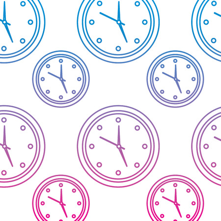 Round clock seamless pattern design vector illustration