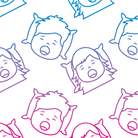Pattern of boy and girl yawning vector illustration