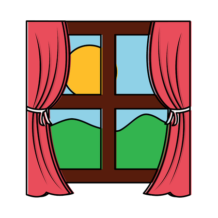 カーテンベクトルイラスト付き木製の窓枠  イラスト・ベクター素材