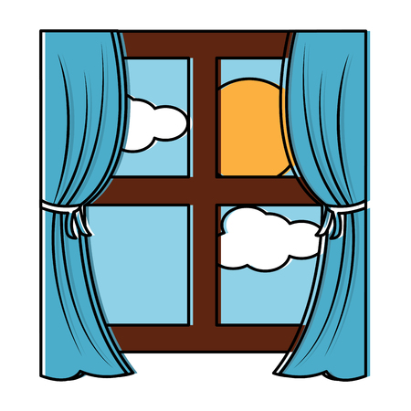 Wooden window frame with curtains vector illustration