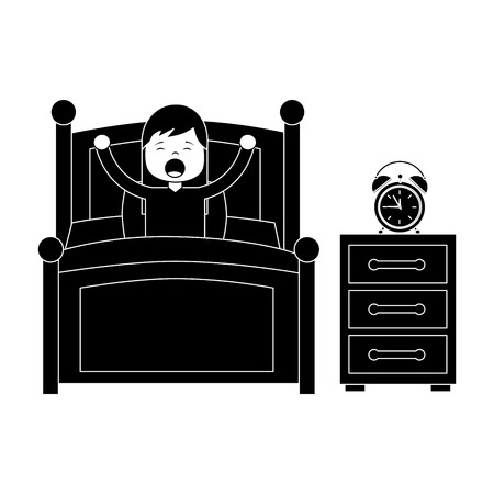 Girl waking up in their room icon Stock Illustratie