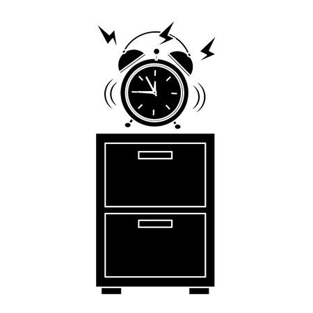 Alarm clock ringing on night table icon image vector illustration design