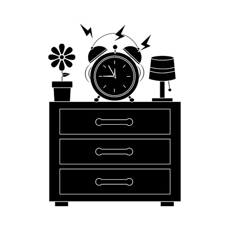 夜のテーブルアイコン画像ベクトルイラストデザインに鳴る目覚まし時計 写真素材 - 96169259