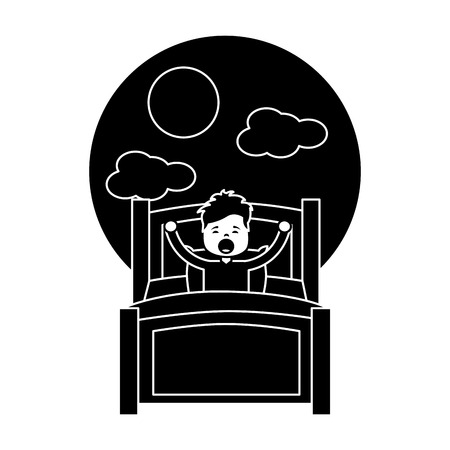 Boy waking up in their room icon Illustration