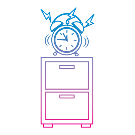 Alarm clock ringing on night table icon image vector illustration design