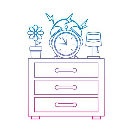 Wooden bedside table with alarm clock and lamp vector illustration Ilustração