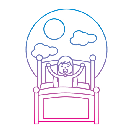Girl wake up stretching in wooden bed  illustration