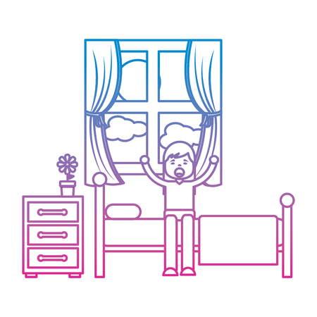 young girl sitting in bed stretching waking up vector illustration
