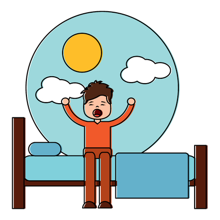 young man waking up sitting on bed vector illustration Archivio Fotografico - 96062553