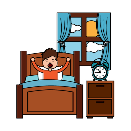 boy wake up stretching in wooden bed room bedside table clock window vector illustration Illustration
