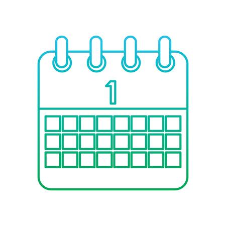 celebration calendar first planning date vector illustration blue and green degrade line