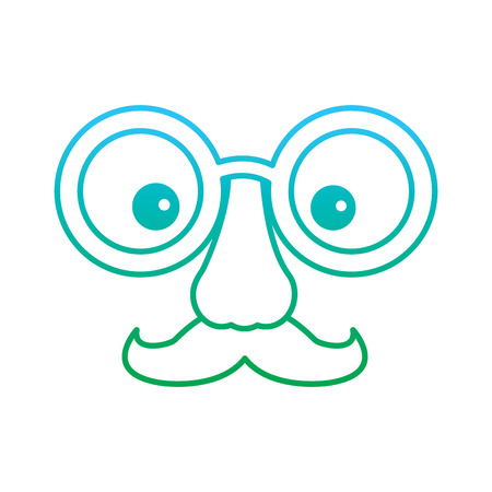 funny fake mask made of glasses mustache and nose vector illustration blue and green degrade line