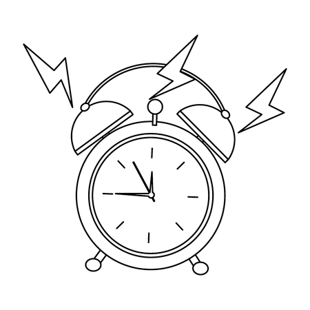 Round clock alarm wake up ring icon vector illustration outline design