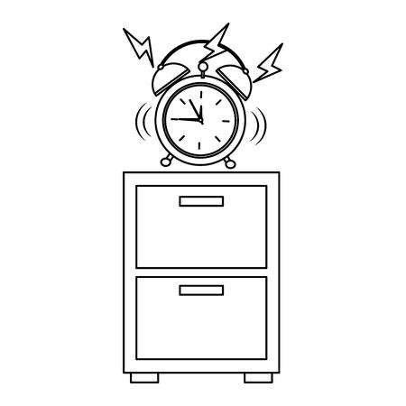Wooden bedside table clock alarm ring vector illustration outline design