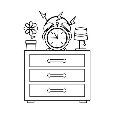 Wooden bedside table clock alarm ring pot flower and lamp vector illustration outline design Ilustração