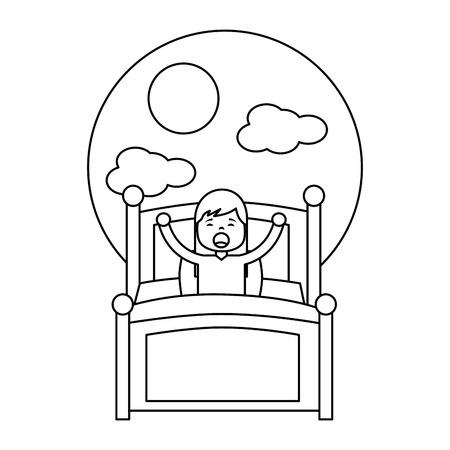 ベッドベクターイラストアウトラインデザインで若い女の子を朝起こします