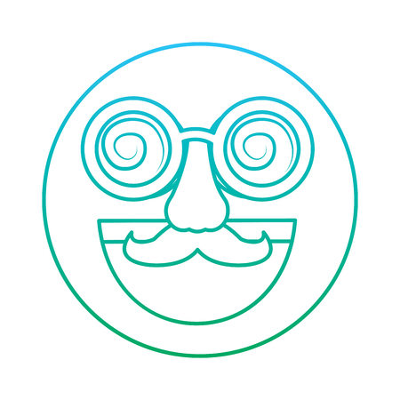 fake smile emoticon with mustache and silly glasses vector illustration blue and green degrade line