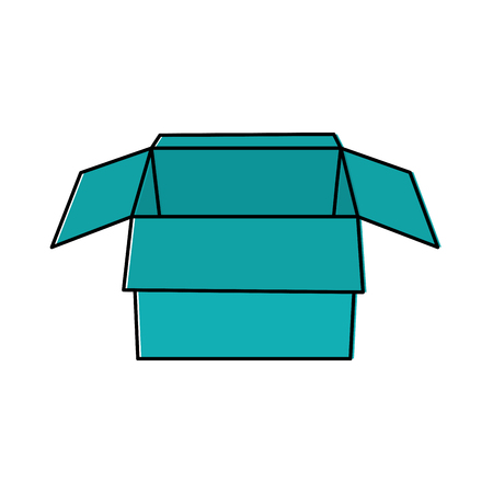 Open cardboard box vector illustration