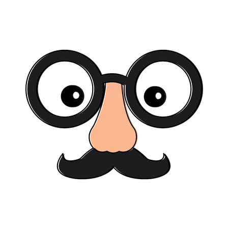 Funny fake mask with glasses, mustache and nose vector illustration