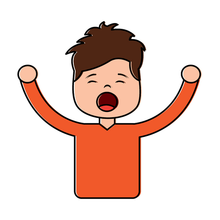 Portrait young boy yawning and arms extended vector illustration