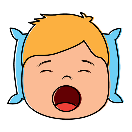 Young boy with head in pillow yawning vector illustration. Illustration
