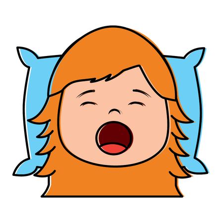 Little girl yawning with head on pillow vector illustration.
