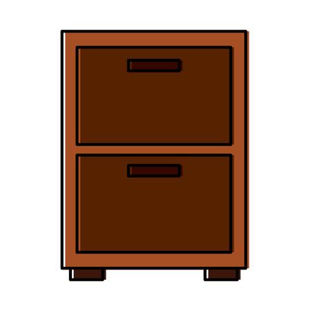 Wooden bedside table drawers furniture vector illustration.