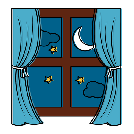 Wooden window frame with curtain and night moon stars vector illustration.