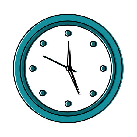 Round clock time hour object icon vector illustration.