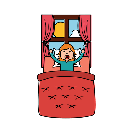 little girl waking up in bed and window landscape vector illustration
