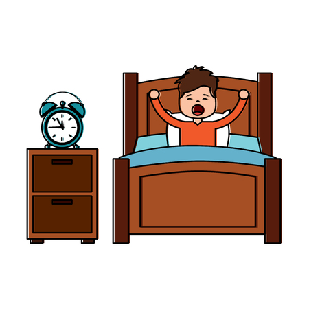 boy wake up stretching in wooden bed with bedside table clock vector illustration