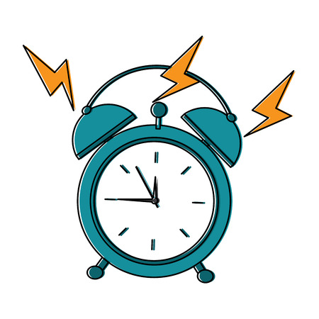 round clock alarm wake up ring icon vector illustration Illustration