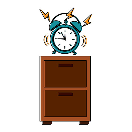 wooden bedside table clock alarm ring vector illustration