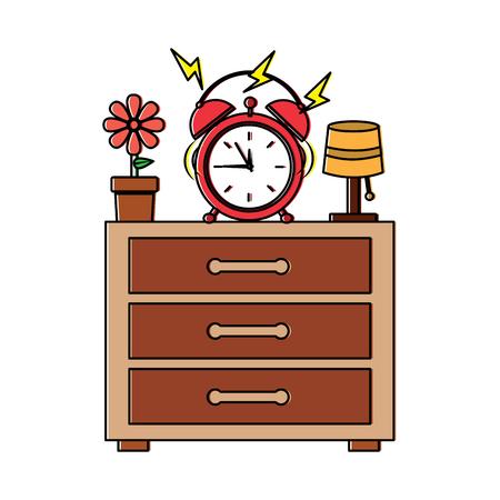 wooden bedside table clock alarm ring pot flower and lamp vector illustration