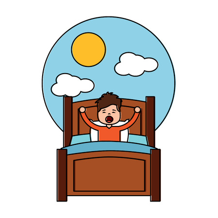 boy wake up stretching in wooden bed and morning day sun cloud vector illustration