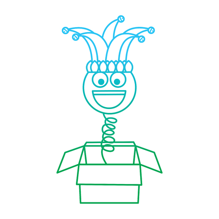 joke box prank smile with jester hat fools party vector illustration blue and green degrade line