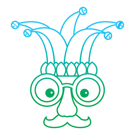 fake mask glasses mustache and jester hat vector illustration blue and green degrade line