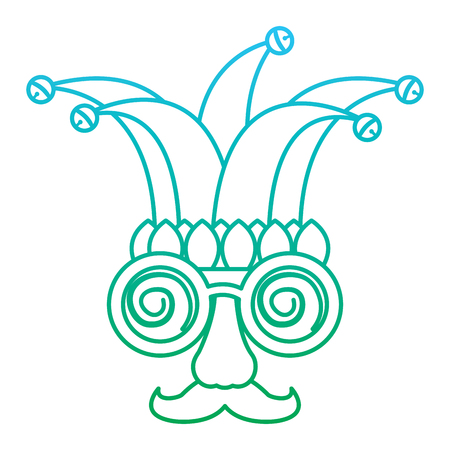 funny mask silly glasses mustache and jester hat fools celebration vector illustration blue and green degrade line Illustration