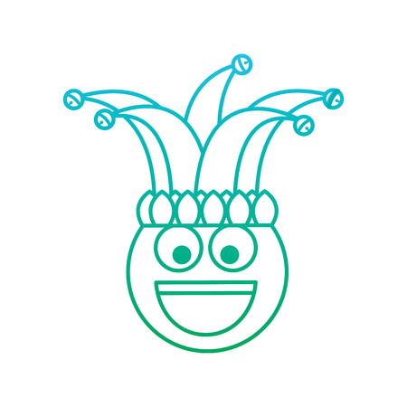 happy emoticon smile jester hat funny vector illustration blue and green degrade line