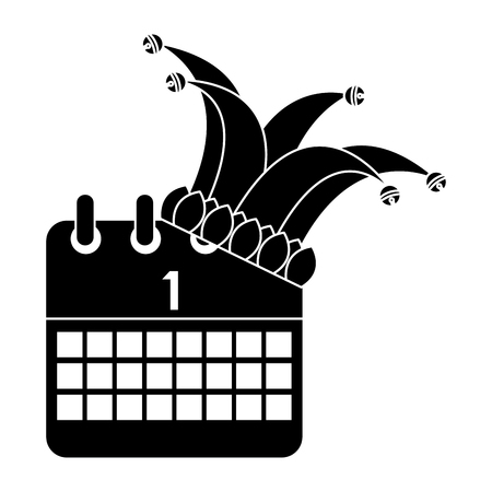 Jester hat and calendar first day festival vector illustration