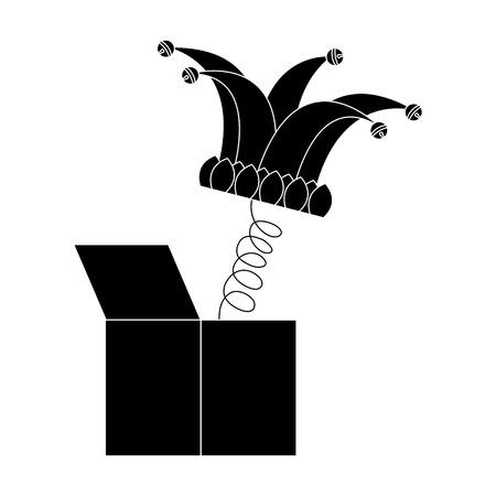 Joke box and jester hat vector illustration