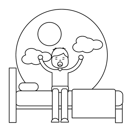 Young man waking up sitting on bed vector illustration outline design Archivio Fotografico - 96072428