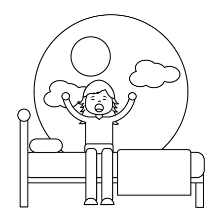 Young girl sitting in bed stretching waking up vector illustration outline design