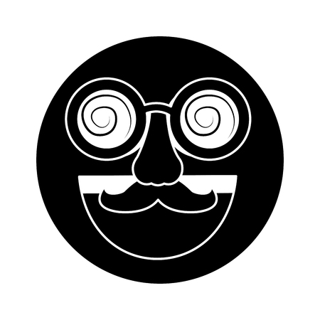 Fake smile emoticon with mustache and silly glasses vector illustration
